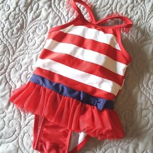 Red White Navy Striped 12M Swimsuit